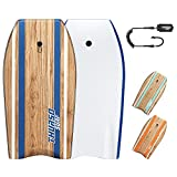 THURSO SURF Quill 42'' Bodyboard Lightweight Durable EPS Core IXPE Deck HDPE Slick Bottom FRP Stringer Crescent Tail Dual Channel Plastic Mesh with Double Swivel Coiled Wrist Leash (Azure)
