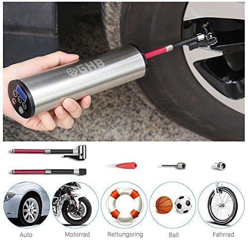 GHB Mini Auto-Luftpumpe Elektrischer Luftverdichter für Fahrrad Ball...