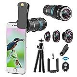 ARORY 4 in 1 Telefono Cellulare Lens – 12 x teleobiettivo + 0.65 x Obiettivo grandangolare + Obiettivo Macro + Obiettivo fisheye,Compatibile per iPhone, Samsung e la Maggior Parte Smartphone