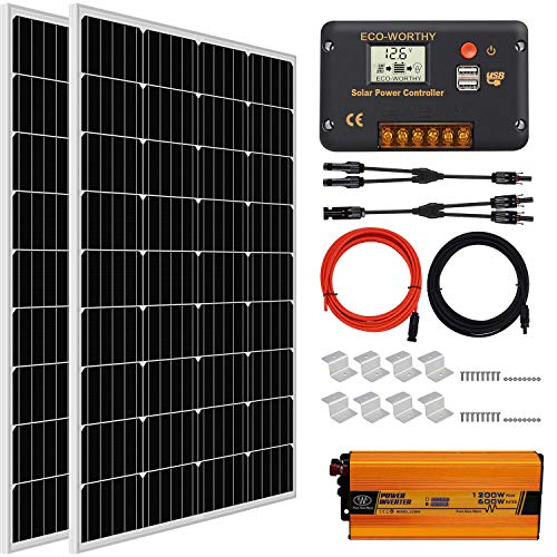 ECOWORTHY Kit de panel solar fuera de la red de 200W 12V / 24V: 2pcs...