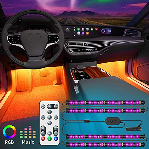 Govee Striscia LED Auto con Telecomando, Aggiornato 2-in-1 Design Interior Car Luci a LED con 32...