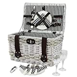 ZORMY Picnic Basket Willow Hamper for 2 Persons, Seegrass Decoration Large White Wicker Picnic Basket with Stripe Lining Handles Willow Picnic Set Includes Silverware, Glasses and Accessories