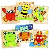 aovowog 6 Pack Puzzles en Bois pour 1 2 3 4 Ans en Bois Animaux Puzzle Enfants...