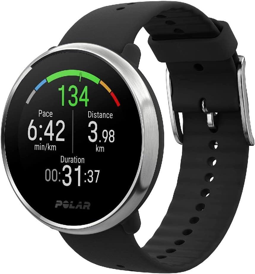Polar Ignite – Reloj de fitness con GPS integrado, pulsómetro de muñeca, guías de entrenamiento - hombre/mujer - negro/plata M/L