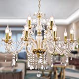 Modern Luxurious Candle Gold Crystal Chandelier, 12 Lights K9 Modern Crystal Chandelier for Dining Room, Pendant Lamp Ceiling Lighting for Living Bedroom Hall Balcony (12 Lights, Gold)