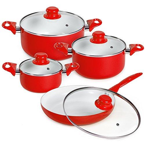 TecTake Set di pentole da 8 pezzi batteria padelle in ceramica cucina - disponibile in diversi...