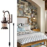 Rustic Wall Light, 2-in-1 Antique Bronze Vintage Wall Light Fixture Hardwired Plug in Industrial Glass Shade Lantern Lighting Retro Lamp Metal Wall Sconce for Home Bedroom Dining Room café(1 Pack)