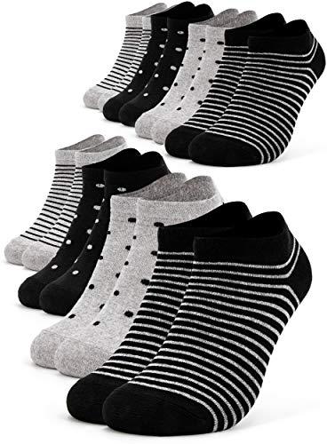 Occulto 8 Paia Calzini Sneaker da Donna | Calzini Corti a Righe, Puntini ed altri Motivi | Calze...