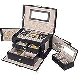TRESKO Boîte à bijoux Coffret à bijoux avec 2 tiroirs Miroir, cuir...