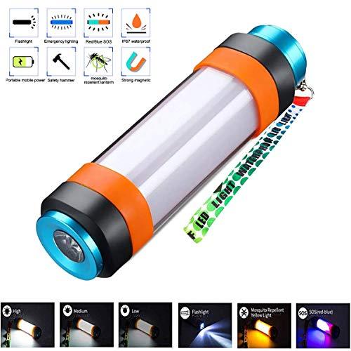 MCSWKEY Lámpara LED para Camping, Magnético y Portátil Recargable USB Linterna Luz Repelente de...