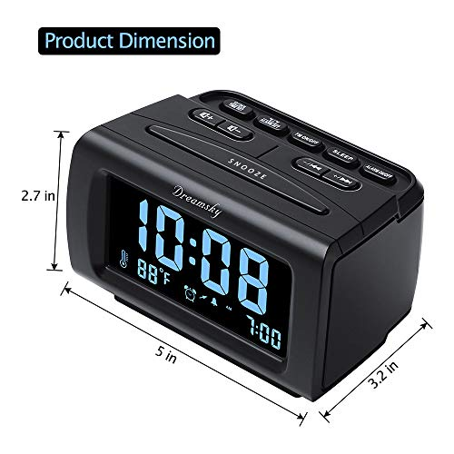 Product Image 6: DreamSky Alarm Clock Radio FM with USB Port for Bedroom, 1.2 Inch Bold Digit Display with 0%-100% Dimmer, Temperature, Snooze, Adjustable Alarm Volume, Sleep Timer, 12/24H