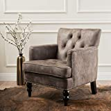 Christopher Knight Home Medford Brown Tufted Club, Fabric Chair with Studded Nailhead Accents, Greyish