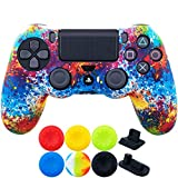 9CDeer 1 Piece of SiliconeTransfer Print Protective Cover Skin + 6 Thumb Grips & Dust Proof Plugs for PS4/Slim/Pro Controller colour paint