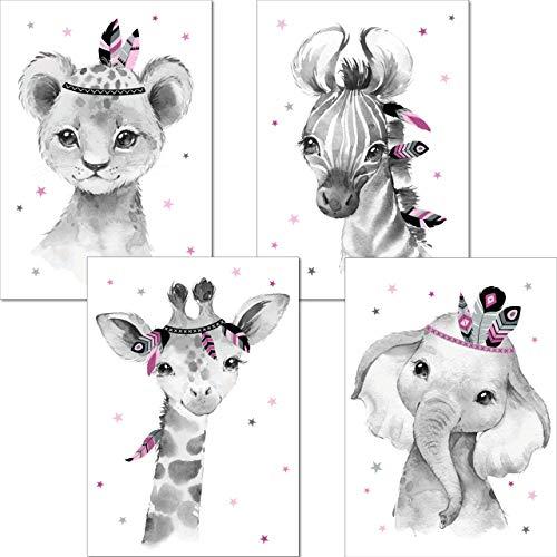 LALELU-Prints | A4 Bilder Kinderzimmer Deko Mädchen | Zauberhafte Indianer-Tiere Boho Feder rosa | Poster Babyzimmer | 4er Set Kinderbilder (DIN A4 ohne Rahmen)