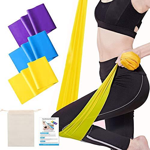 Yoassi Bande Elastiche Fitness, Fasce Elastiche con 3 Livelli di Resistenza, Fascia Elastica Esercizi 1,5 m Ideale per Yoga, Crossfit, Stretching, Esercizi Fisici, Sportiva