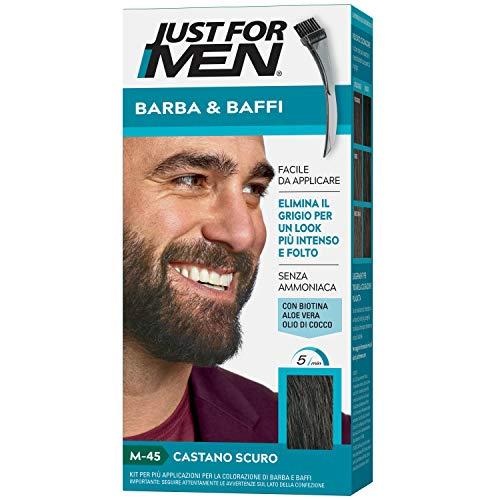 Just For Men Barba & Baffi, M45 – Tinta Castano Scuro Per Uomo Senza Ammoniaca Con Pettine Appplicatore, 14 gr