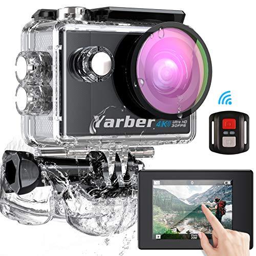 Yarber Action Cam, Touch Screen 4K Ultra HD 170°WiFi 30FPS 20MP Impermeabile 40M Fotocamera con EIS Hyper Stabilizzata Videocamera, Telecomando con 2 Batterie Ricaricabili e Kit Completo di Accessori