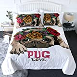 BlessLiving 3 Piece Pug Comforter Set with Pillow Shams Puppy Dog Cute Bedding Set 3D Printed Reversible Comforter for Couples Twin Size Bedding Sets Soft Comfortable Machine Washable, Roses