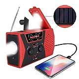 [2020 Upgraded Version] RegeMoudal Emergency Solar Hand Crank Radio, NOAA Weather Radio for Emergency with AM/FM, LED Flashlight, Reading Lamp, 2000mAh Power Bank and SOS Alarm (Black Red)
