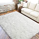 LOCHAS Ultra Soft Fluffy Rugs Faux Fur Sheepskin Area Rug for Bedroom Bedside Living Room Carpet Nursery Washable Floor Mat, 3x5 Feet White