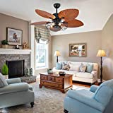 OUKANING Palm Island Bali Breeze Ceiling Fan, Five Palm Leaf Blades, Tropical Fan, with Remote Control (52 inches) (Brown 5 Lights)