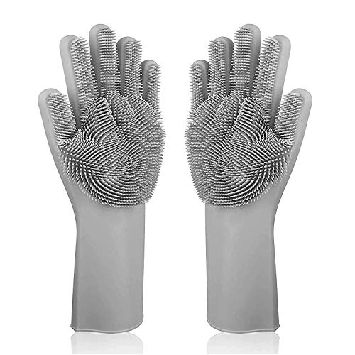 Cellphonez Dish Washing Silicon Hand Gloves with Scrubber for Kitchen Cleaning, Utensils, Bath and pet Hair Care - Reusable Heat Resistance and Water Proof Gloves - (Multicolor) (1 Pair)