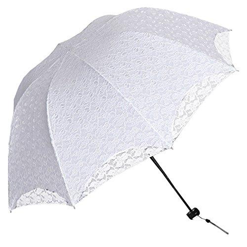 BOZEVON Damen Mädchen 100{6b661d309c9c1caa708178396adec9a3a9233d92e595aa73d58febebba6171fd} Polyester Spitze Faltbarer Regenschirm Sonnenschirm Manuell UV-Schutz Schirm für Outdoor Camping Fashion Geschenk (Weiß)