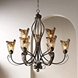 Amber Scroll Golden Bronze Silver Large Chandelier 35 1/2' Wide Rustic Art Glass 9-Light Fixture for Dining Room House Foyer Kitchen Island Entryway Bedroom Living Room - Franklin Iron Works