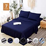 Agedate 4 Piece Brushed Microfiber Bed Sheets Set, Deep Pocket Bed Sheets Queen, Hypoallergenic, Easy to Care, Fade, Stain and Wrinkle Resistant, Queen Size, Navy Blue