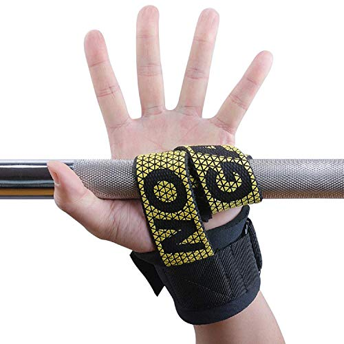 Hykes Silica Gel Weight Lifting Straps, Pull ups Hand Grips with Padding, Wrist Protector for Weightlifting, Workout, Crossfit, Bodybuilding, MMA, Powerlifting, Strength Training for Men and Women