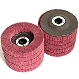 Yutnqin 10Pcs 4.5' x 7/8' Nylon Fiber Flap Disc Polishing Grinding Wheel,Scouring pad Buffing Wheel for Angle Grinder, Polishing Tools (Grit 320),Abrasive disks for Power-Operated Grinders