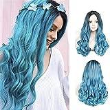 PIAOLIGN Peluca de color azul oscuro, peluca negra y azul, larga y esponjosa,...