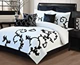 KingLinen 9 Piece Queen Duchess Black and White Comforter Set