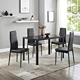 AWQM Dining Table Set 5 Piece Kitchen Table Set with Tempered Glass Table Top and 4 Faux Leather Chairs, Black