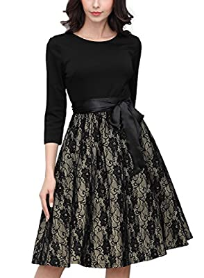 SIZE RECOMMEND: US 4/6(Small), US 8/10(Medium), US 12/14(Large), US 16(X-Large), US 18(XX-Large), US 20(3X-Large) Suit for Evening Party, Business Occasion,Wedding Scoop Neck,2/3 Sleeve,Slim Style. Deep -V Neck On The Back,Retro Polka Dot Pattern Zip...