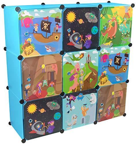 KEKSKRONE Großer Kinderschrank Bunte Motiv-Türen - DIY Stecksystem - 9 Module je 37 x 37 x 37 cm, Blau | Kinderzimmer-Schrank | Kinderkleiderschrank | Baby-Regal | Spielzeugkommode