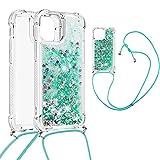 DasKAn Coque pour iPhone 13 Mini 5,4' Liquide Paillettes avec Bandoulière,...