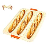 Silicone Loaf Pan French Bread Wave Cake Baguette Baking Mold Tray, Global-store Baguette Pan forBaking, Non-Stick Baking Liners Mat Bread Cake Bake Tools (3 Loaf, Confetti Dots)