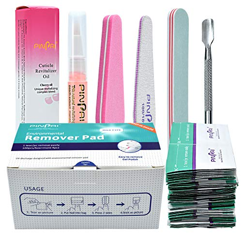 Nail Polish Gel Remover Tools Kit, 100Pcs Nail Gel Remover Wraps Nail Cuticle Oil Pen Cuticle Pushers and Nail File for Removing Nail Polish at Home/in Salon
