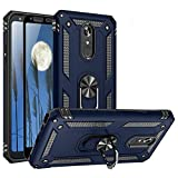 TJS Phone Case Compatible with LG K40/K12 Plus/X4/Solo LTE/Harmony 3/Xpression Plus 2, with [Full Coverage Tempered Glass Screen Protector] Impact Resistant Metal Ring Magnetic Support (Blue)