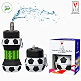 Kids Sports Water Bottle Collapsible Ball Shaped Reusable Drinking Cup Leak Proof School Lunch Mug Shockproof Squeezable Basketball Baseball Tennis Soccer Team Accessory Compact Travel Jug Gift Idea
