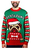 Santa Paws Pug Ugly Christmas Sweater Funny Men Women Festive Holiday Sweater Large Multicolor