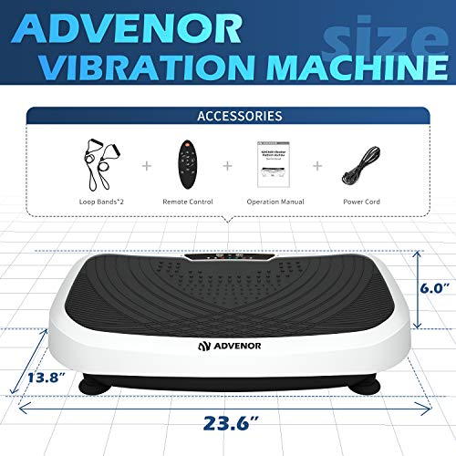 ADVENOR Vibration Plate Exercise Machine 3D Whole Body Workout Fitness Platform with Loop Bands Silent Motor Speed Control 1-99 Level for Home Fitness & Weight Loss Max User Weight 330lbs 5