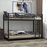 Giantex Metal Bunk Bed Twin Over Twin, Classic Bunk Bed Frame with Safety Guard Rails & Side Ladder, Heavy Duty Space-Saving Design, Easy Assembly, Bunk Bed Frame for Kids (Black)