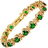RIZILIA Blossom Tennis Bracelet & Round Cut CZ [Simulated Green Emerald] in Yellow Gold Plated, 7'