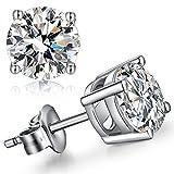 Han han Men's Stud Earrings Diamond Stud Earrings for Women Cubic Zirconia Earrings Studs Sterling Silver Studs Ear Piercing Earrings Women's Earrings White Gold Plated Hypoallergenic Earrings 8MM