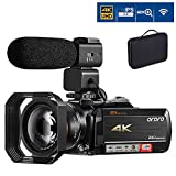 4K Camcorder Video Camera ORDRO 12x Optical Zoom 3.1'' IPS Touch Screen 4K Ultra HD 1080P 60FPS WiFi Digital Camcorders with Microphone Wide Angle Lens and Storage Case