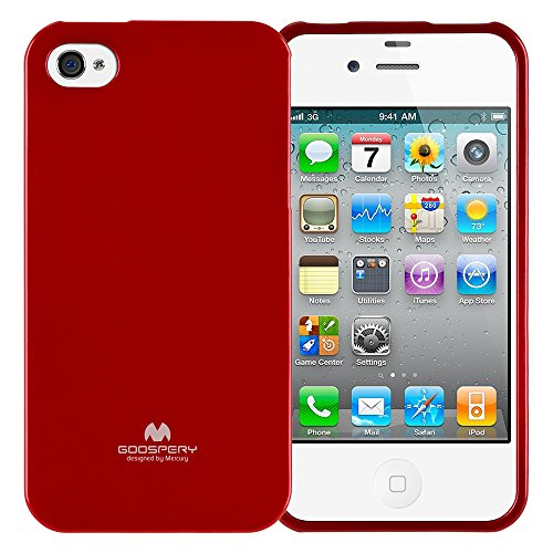 Goospery Pearl Jelly for Apple iPhone 4s Case (2011) iPhone 4 Case (2010) with Screen Protector Slim Thin Rubber Case (Red) IP4-JEL/SP-RED