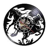 LKJHGU Naturaleza Negro galopante Caballo Arte Mustang Reloj Retro Vinilo Disco Vinilo Reloj de Pared Caballero decoración del hogar diseño Moderno