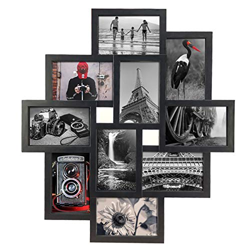 10 Opening 4x6 Black Collage Picture Frame Wall Hanging for 4 by...